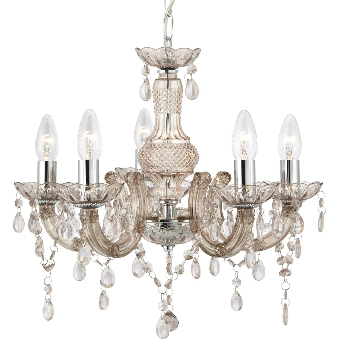 Marie Therese Wall Lights Chrome : Marie Therese Ceiling Light - 5 Light, Chrome, Mink Glass