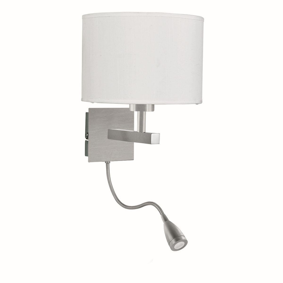 Flexible LED Dual Arm Wall Light (Switched) - Satin Silver, Complete with Shade