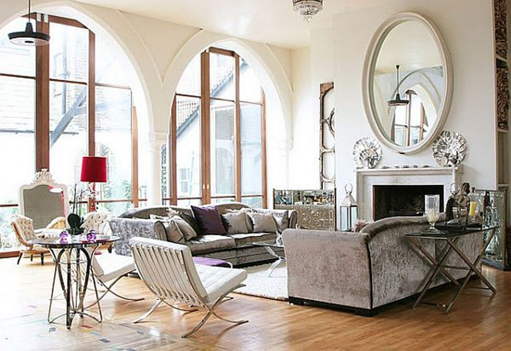 old church turn into contemporary house livingroom with big mirror