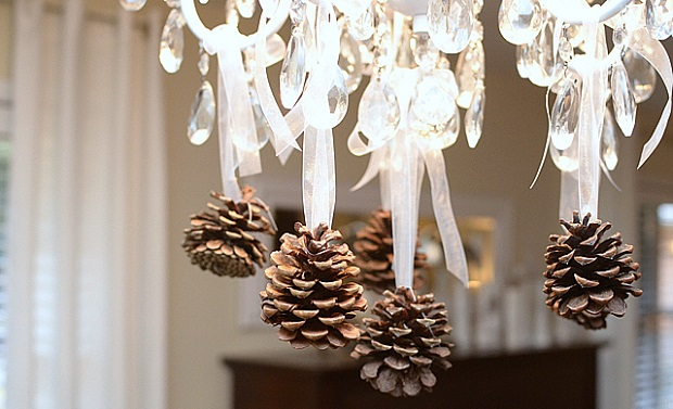 crystal chandeliers christmas pine cones
