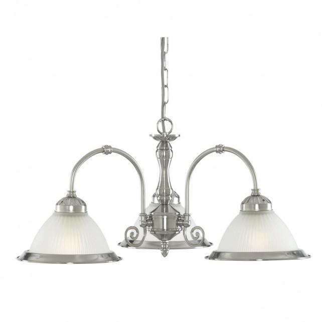 American Diner Ceiling Light - silver 3 light