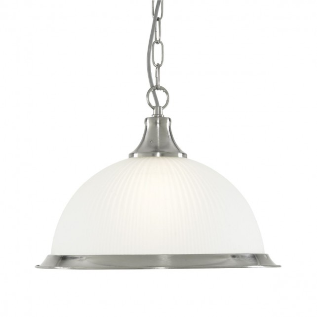 American Diner Ceiling Light - silver pendant, Opaque Glass