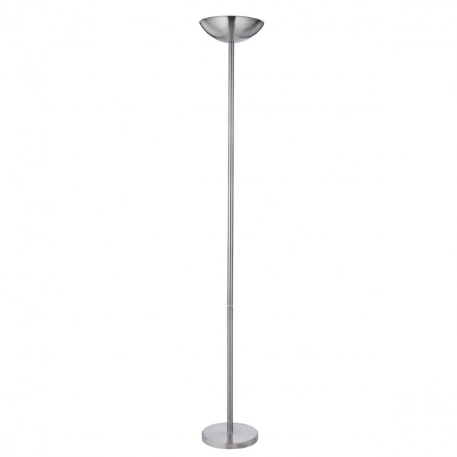 Modern halogen uplighter satin silver with dimmer switch for Uplighter floor lamp dimmer switch