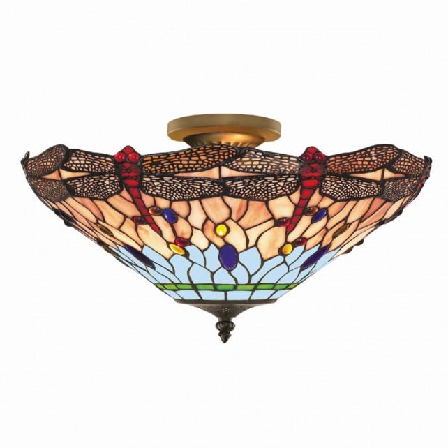 Dragonfly Tiffany Ceiling Light - flush