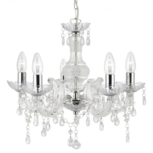 Marie therese ceiling light 5 light chrome acrylic glass