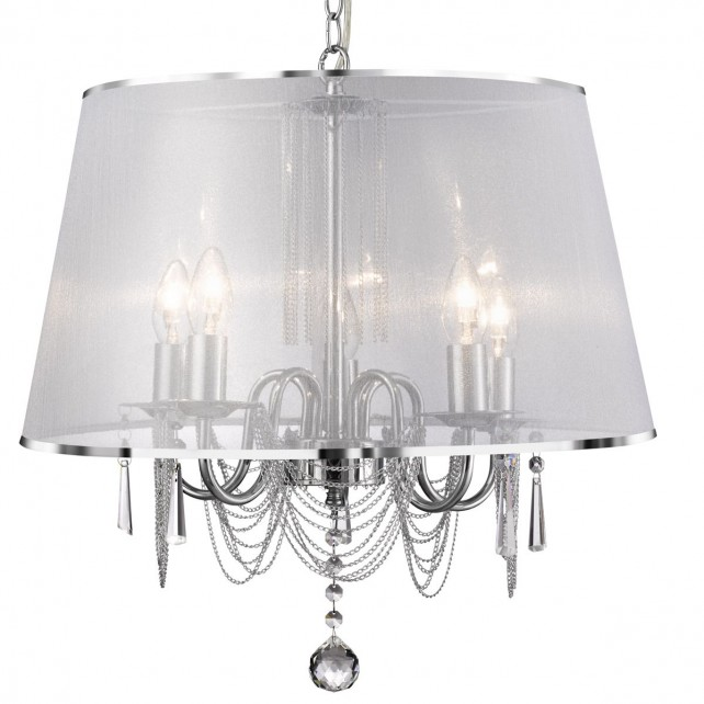 Venetian Chrome Ceiling Light - 5 Light, Complete with Shade