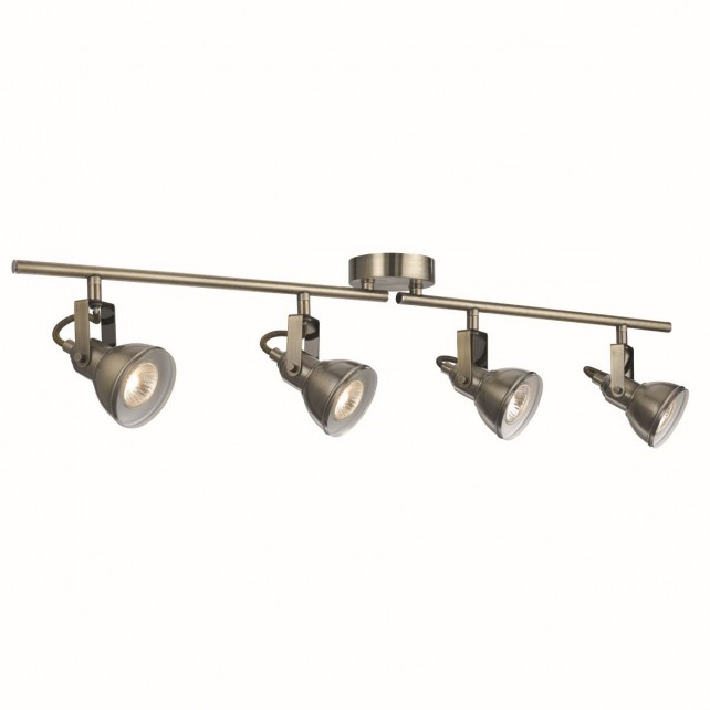 Focus Bar Spotlight - Antique Brass, 4 Spot, with Adjustable Arms