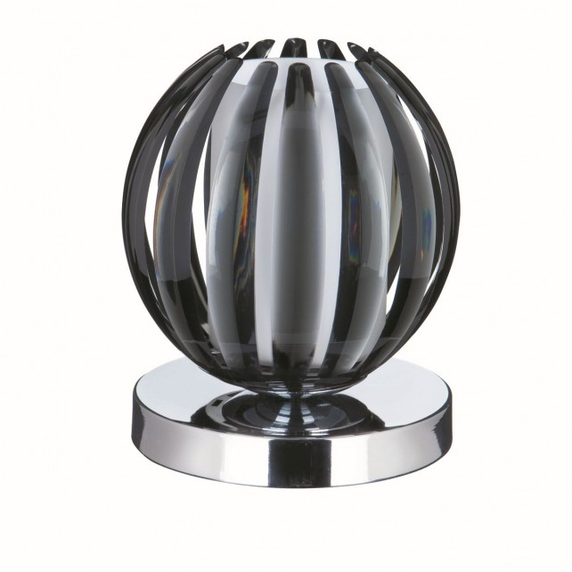 Chrome Touch Table Lamp - Smoked Acrylic, with Frosted Glass