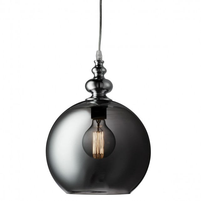 Indiana 1 Light Globe Pendant Chrome, Smokey Glass Shade