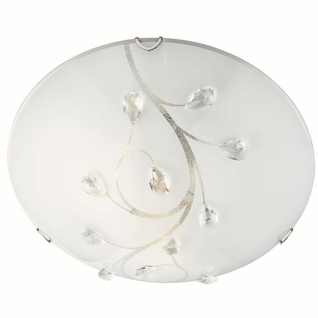 Flush Ceiling Light 30cm - Polished Chrome, Beaded Detail