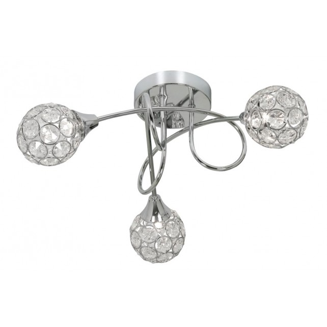 Lana Semi Flush Ceiling Light - 3 Light, Chrome