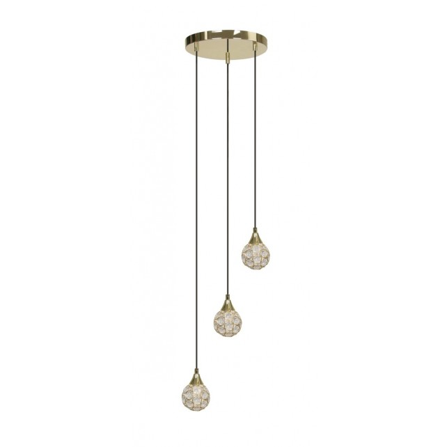 Oaks lighting 2184 3 p pb lana brass 3 light pendant