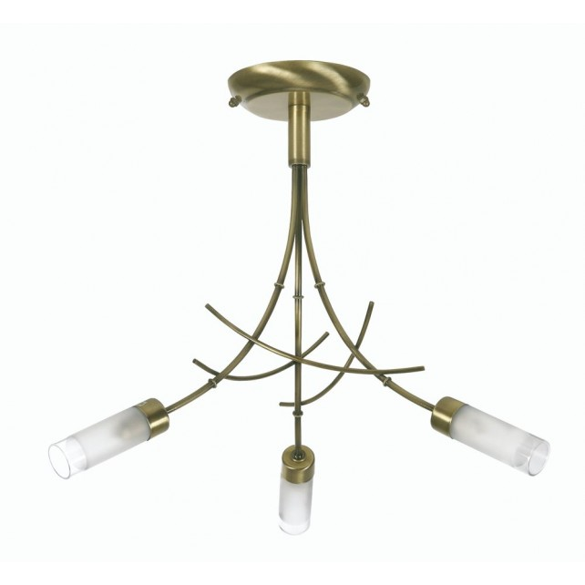Oslo Bamboo Ceiling Light - 3 Light, Antique Brass