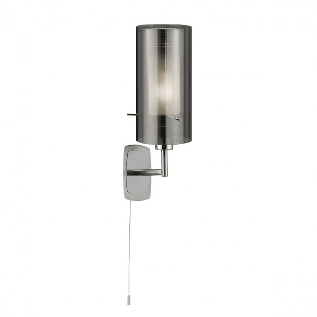 Duo 2 Smoked Glass Wall Light - Chrome