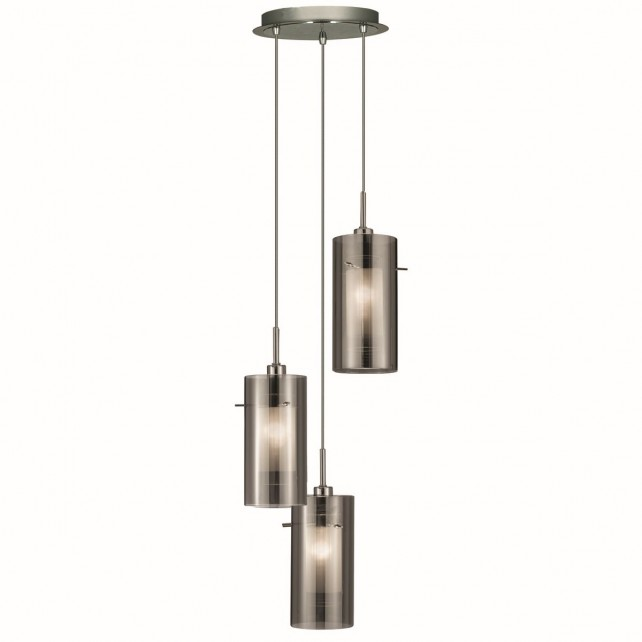Duo 2 Smoked Glass Multi-drop Pendant - 3 Light, Chrome