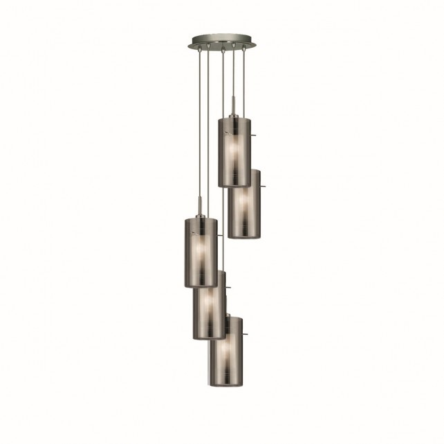 Duo 2 Smoked Glass Multi-drop Pendant - 5 Light, Chrome