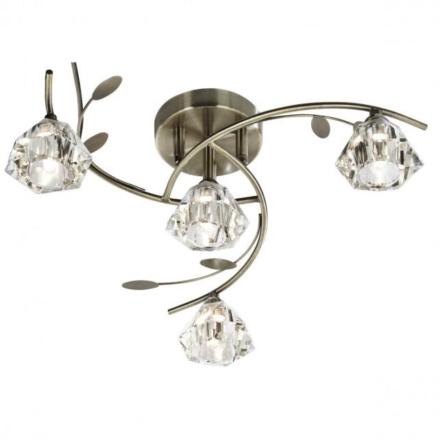 Sierra Semi Flush Ceiling Light - 4 Light, Antique Brass