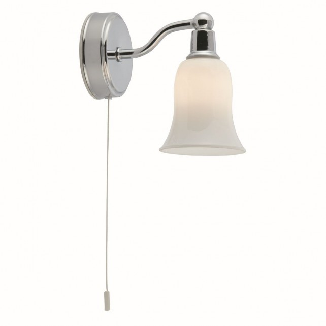 Decorative IP44 Switched Bathroom Wall Light - Chrome, Opal Glass