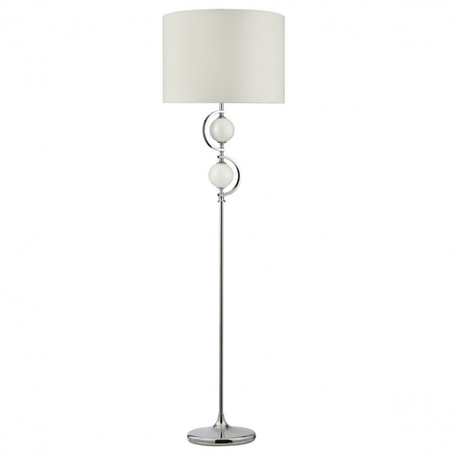 Chrome Modern Floor Lamp - Glass Detail Complete with Shade