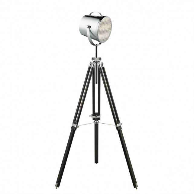 Adjustable Stage Light- Floor Lamp - Chrome Shade/Black Base
