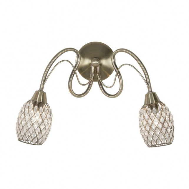 Askas Double Wall Light - 2 Light, Antique Brass