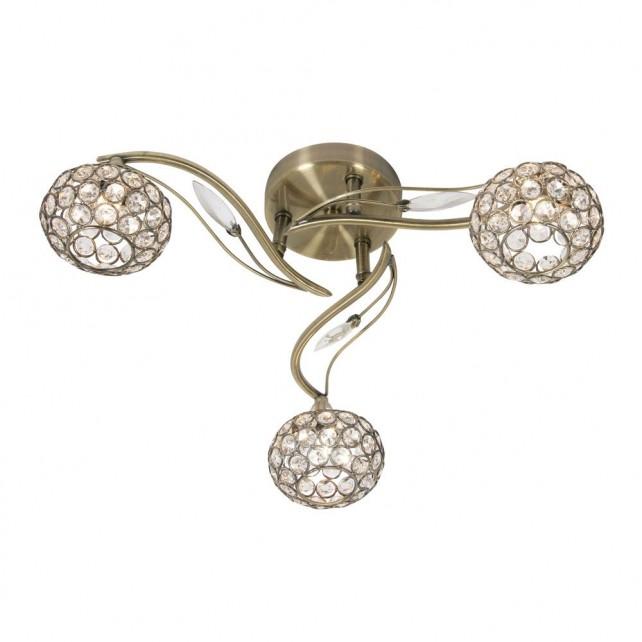 Esmee 3 Light Semi Flush Ceiling Light - Antique Brass