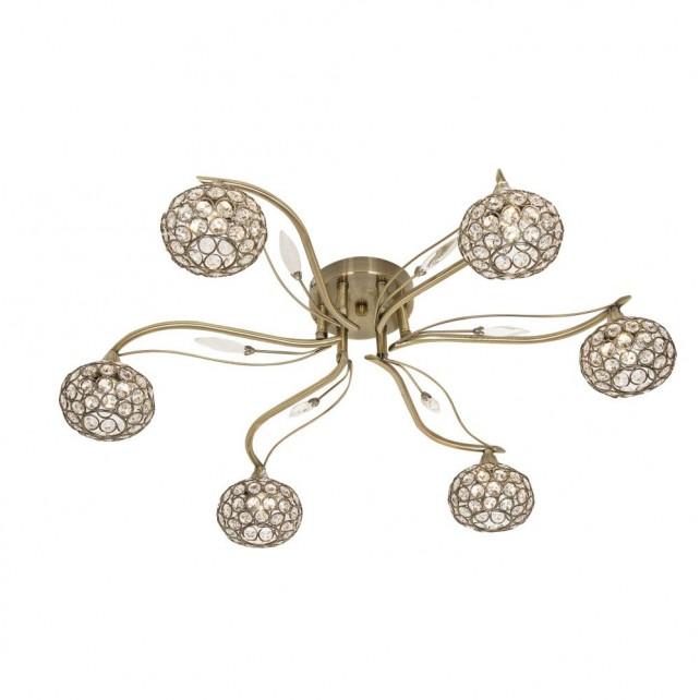 Esmee 6 Light Semi Flush Ceiling Light - Antique Brass
