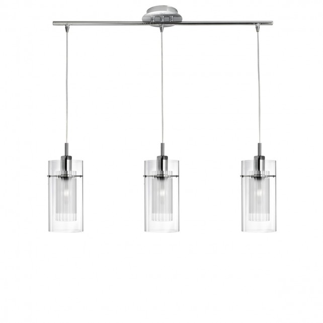 Duo 1 Ceiling Light - 3 Light, Chrome, Clear and Frosted Glass