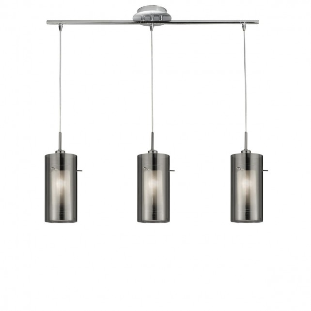 Duo 2 Smoked Glass Ceiling Light - 3 Light, Chrome