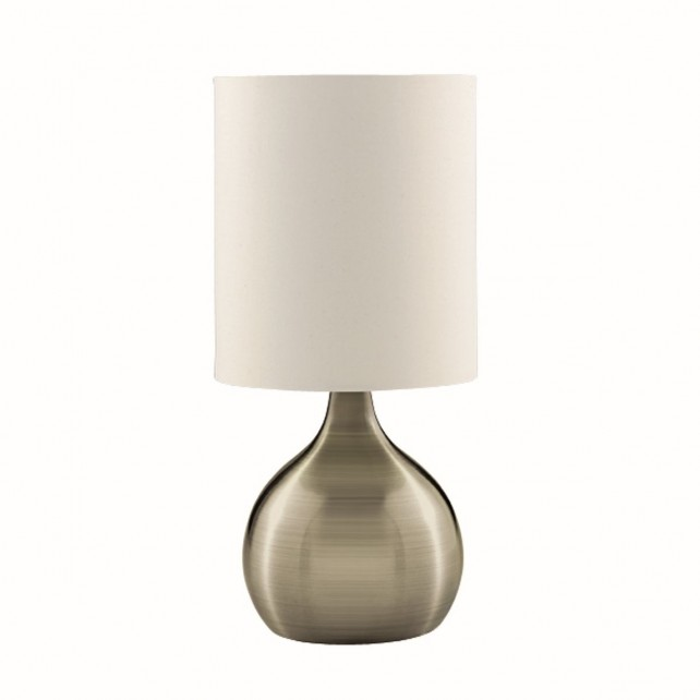 Touch Table Lamp, Antique Brass Base, White Drum Shade