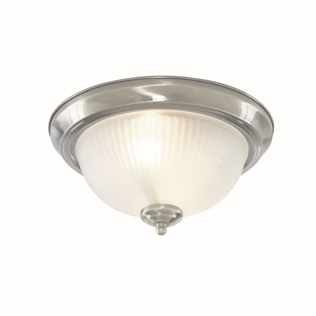 IP44 American Diner Flush Ceiling Light - Satin Silver, Acid Ribbed Glass