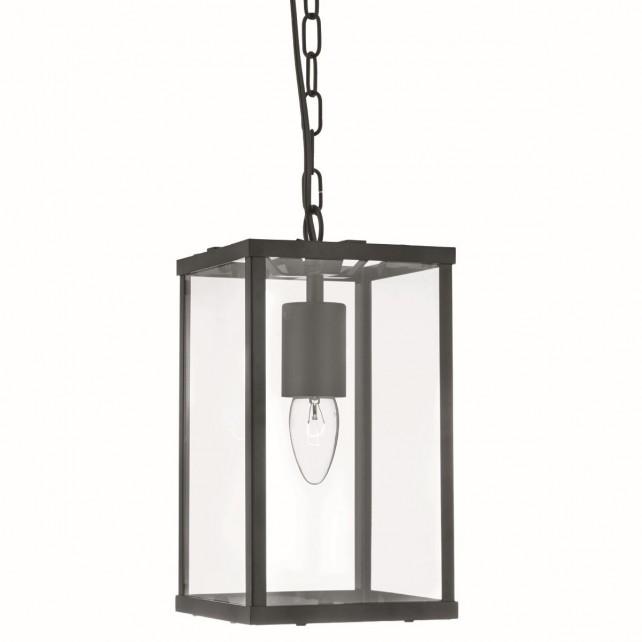 4 Sided Glass Ceiling Light Lantern - 1 Light, Black