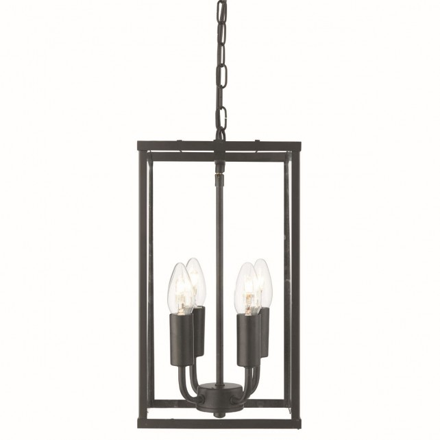 4 Sided Glass Ceiling Light Lantern - 4 Light, Black