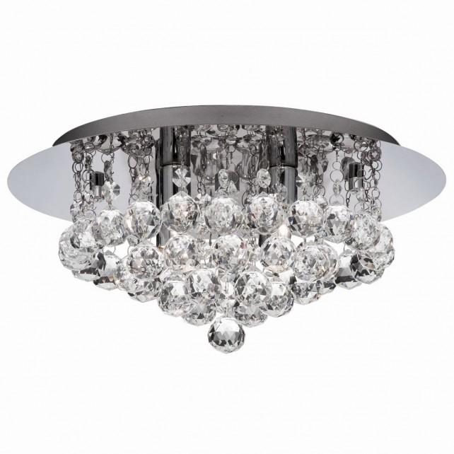 Decorative Bathroom Flush Ceiling Light - 4 Light, Chrome, Crystal Glass (IP44)