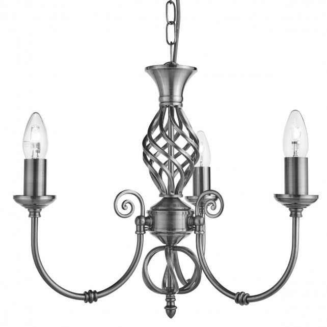 Zanzibar Ceiling Light - satin silver 3 light