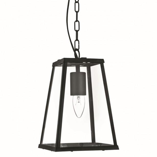 4 Sided Glass Ceiling Lantern - Black