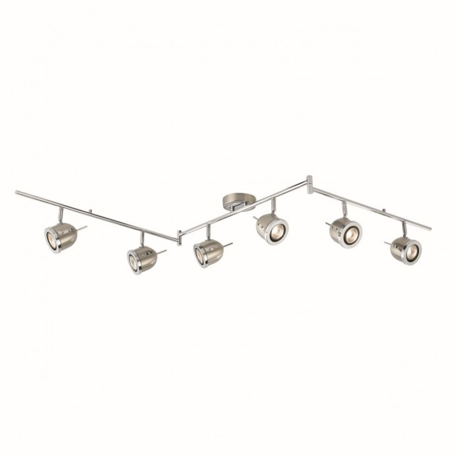 Palmer Split Ceiling Spotlight Bar with Adjustable Heads - 6 Spot, Chrome, Satin Silver