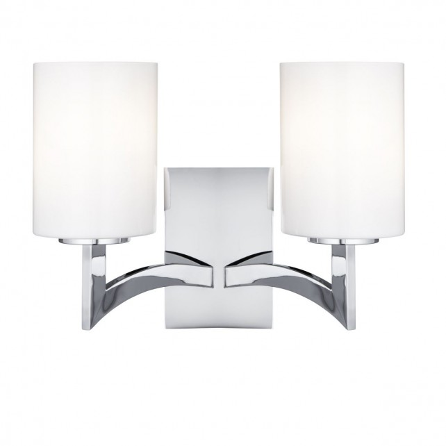 Gina double wall light chrome opal glass