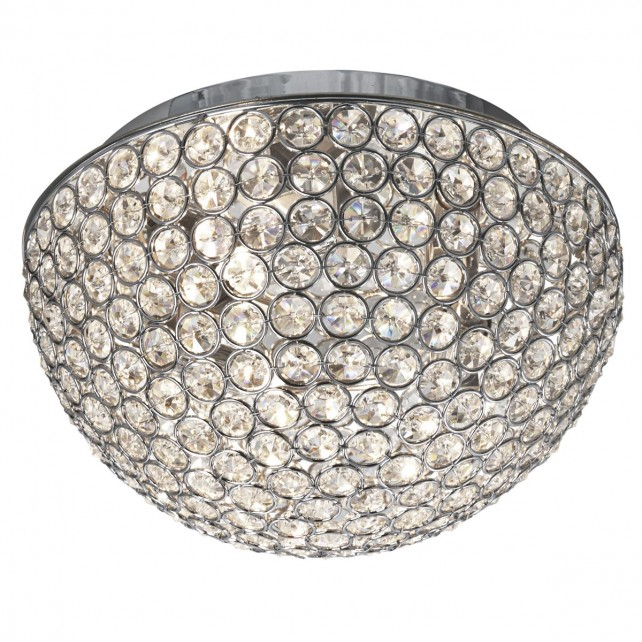 Chantilly Crystal Glass Flush Ceiling Light - 3 Light, Chrome 25""