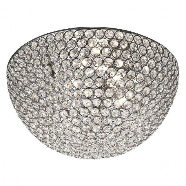 Chantilly Crystal Glass Flush Ceiling Light - 3 Light, Chrom 35""