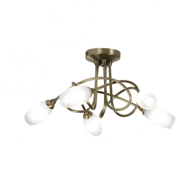Tara Decorative Ceiling Light - 5 Light, Antique Brass