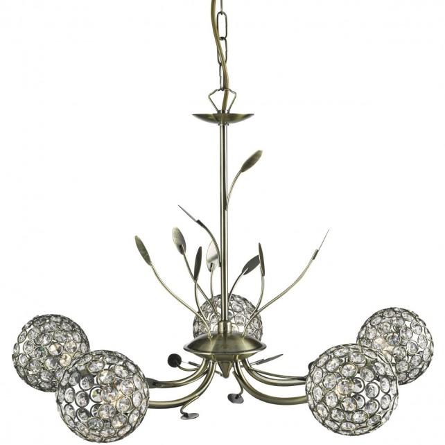 Bellis 2 5 Light Ceiling Light - Antique Brass, Acrylic Beads