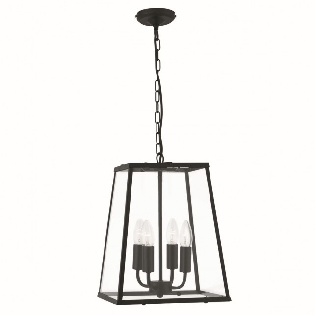 4 Sided Glass Ceiling Lantern - 4 Light, Black