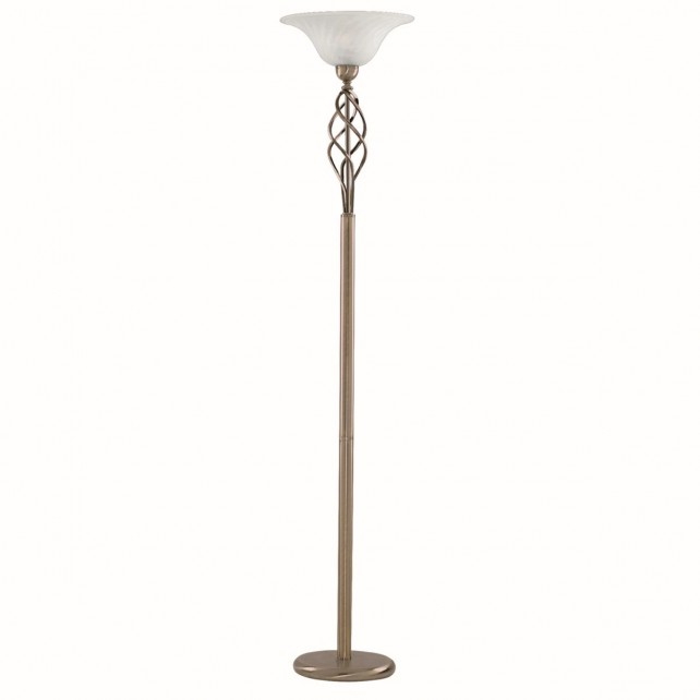 Up lighter Floor Lamp - Brass/ Marble Glass