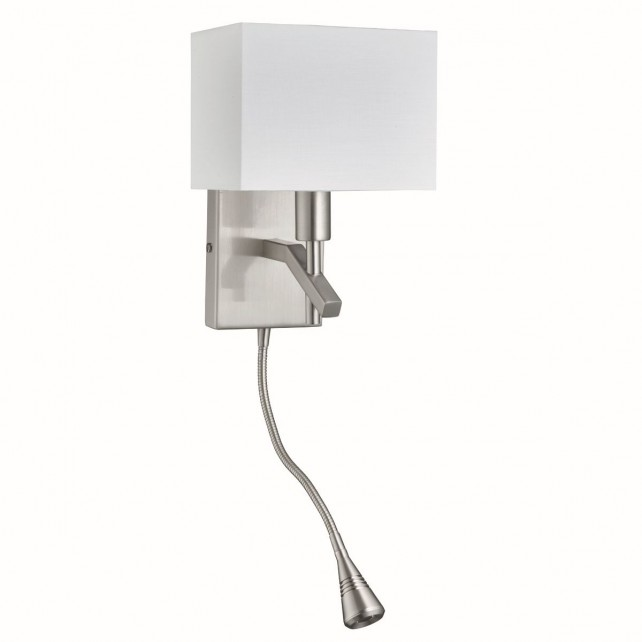 Adjustable Wall Angle Wall Bracket, Led Flexi-Arm Light, Satin Silver, White Rectangle Shade