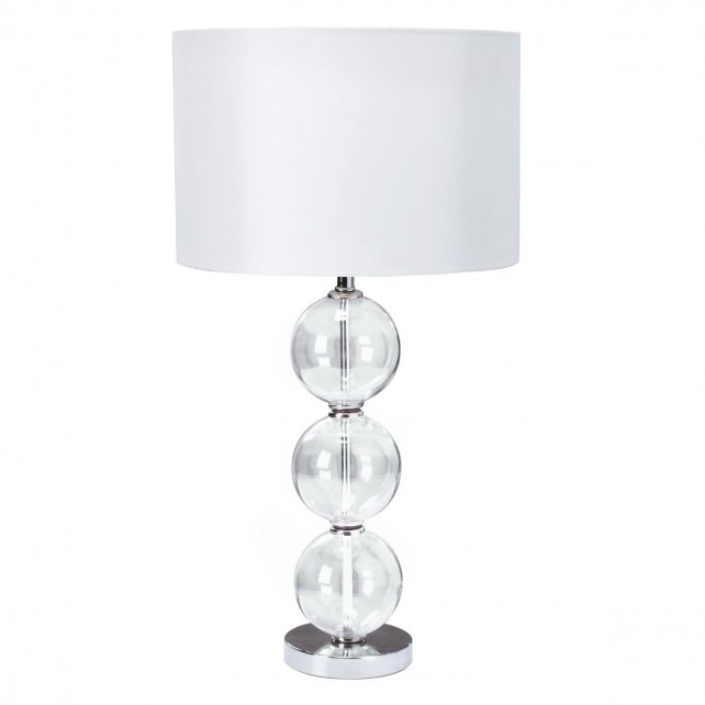 Table & Floor Lamp (Single) - Clear Glass Ball Stacked Base, White Shade