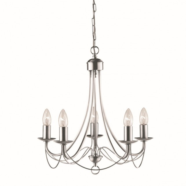 Maypole Decorative Ceiling Light - 5 Light, Satin Silver