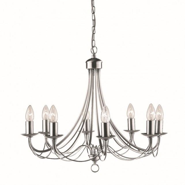 Maypole Decorative Ceiling Light - 8 Light, Satin Silver