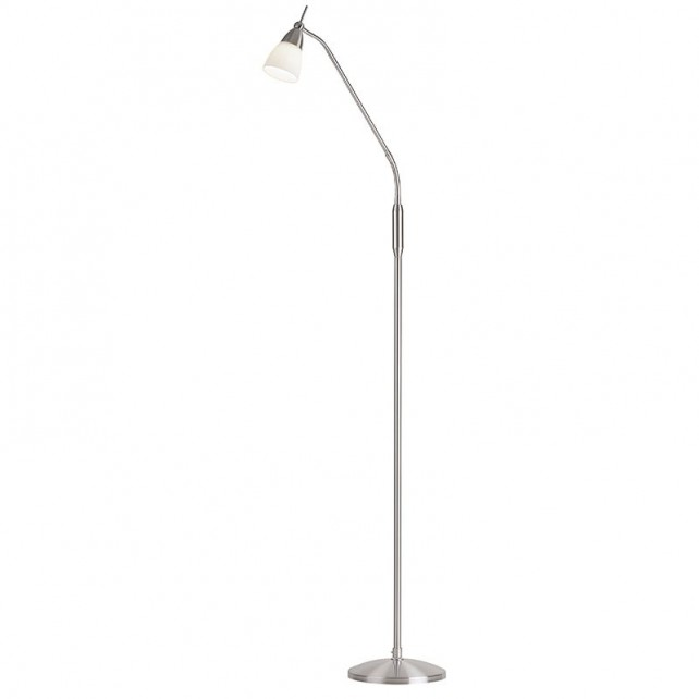 652 Opal Glass Floor Lamp - Satin Chrome