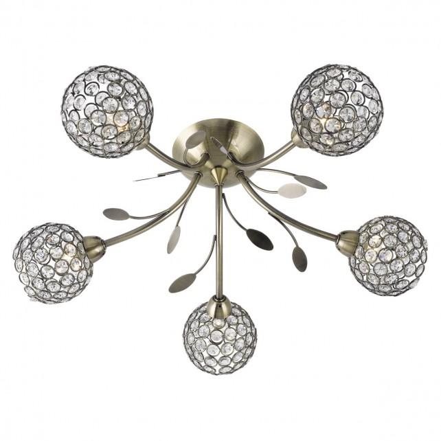 Bellis 2 Semi Flush 5 Light Ceiling Light - Antique Brass, Acrylic Beads